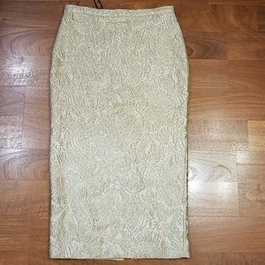 Rochas lurex pencil midi gold floral skirt.size 4